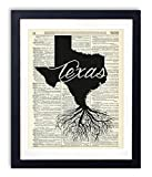 Texas Home Grown Upcycled Vintage Dictionary Art Print 8x10