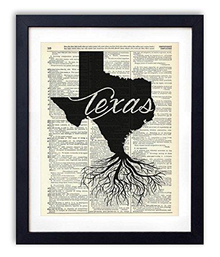 - Texas Home Grown Upcycled Vintage Dictionary Art Print 8x10