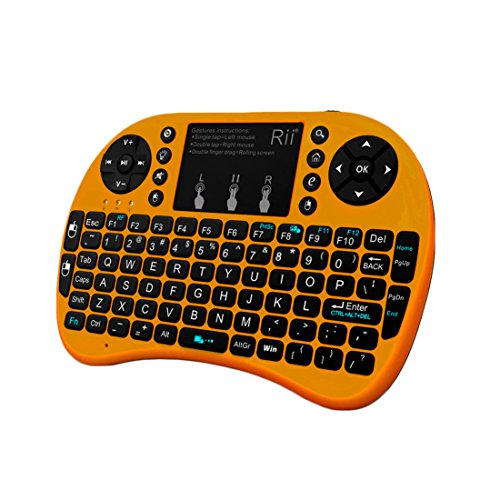 Rii i8+ Mini Wireless 2.4G Backlight Touchpad Keyboard with Mouse for PC/Mac/Android, Gold (MWK08+) (Xbox 360 Controller Rf Adapter)