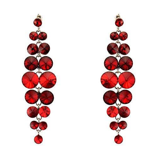285-SIAM RED Fashion Party & Wedding Jewelry Tear Drop Dangle Chandelier Alloy Rhinestone Earrings (Earrings Rhinestone Wedding Chandelier)