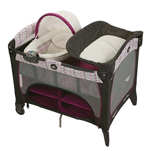 Graco Purple Nyssa Travel Bassinet Crib Changer Pad Playard Pack N Play Pen by Graco