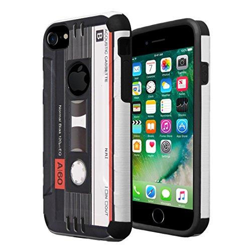 iPhone 7 Case, iPhone 6 / 6S Case, Capsule-Case Hybrid Dual Layer Silm Defender Armor Combat Case Brush Texture Finishing for Apple iPhone 7 / iPhone 6S / iPhone 6 - (Cassette Tape)