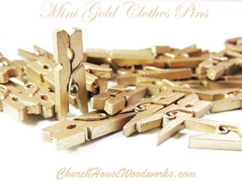 100 Mini Gold 1 inch clothespins, Craft Supplies]()