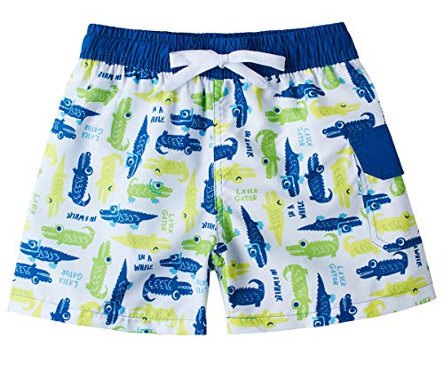 BFUSTYLE Boy's Swim Trunks Sun Protection Holiday Swimming Shorts Light Yellow Green Blue Crocodile Graghic Hawaii Swimwear Animal Solid Jammer Clothing for Kids Boys Size 9