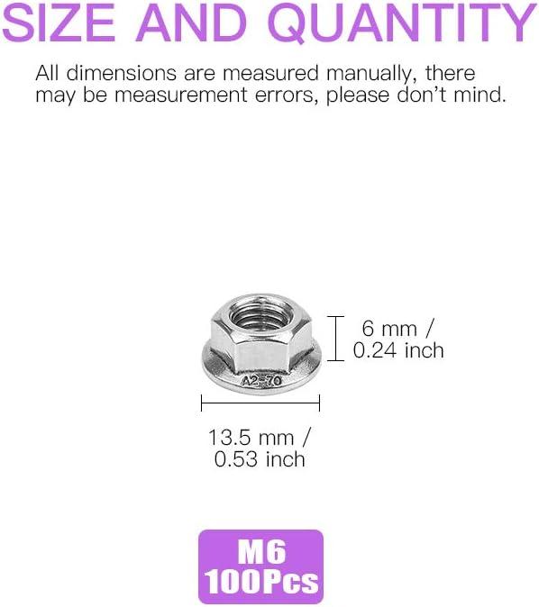 7 Sizes M3 M4 M5 M6 M8 M10 M12 Swpeet 100Pcs M4 304 Stainless Steel Serrated Metric Flange Nuts Hex Lock Nuts Assortment Kit