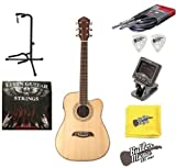 Oscar Schmidt OG1CE Acoustic Electric 3/4 Dreadnought Size Guitar w/Strings, Picks and More