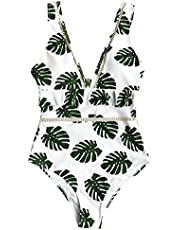 CUPSHE Women's Leaves Print Ruffled One Piece Swimsuit Beach Swimwear Bathing Suit