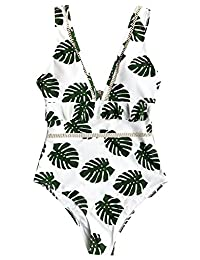 Seaselfie Women's Leaves Printing V-Neck High Waisted One Piece Swimsuit