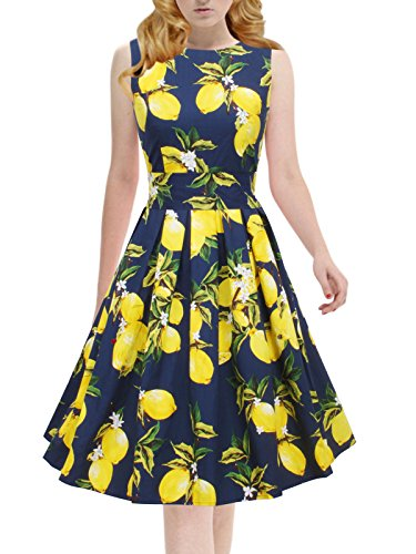 Women's Vintage 1950s Sleeveless Dress with Boat Neck Inspired Rockabilly Swing Dress,Promo - Price 52 Blue