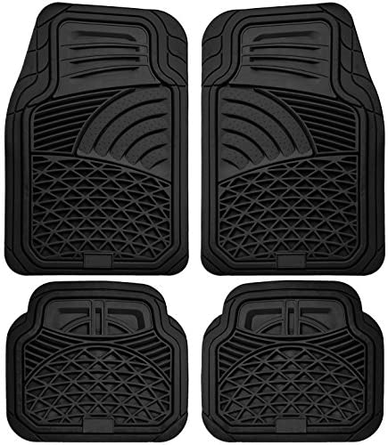 Floor Mats for Cars Trucks SUVs (4 Piece Set) All Weather Heavy Duty Rubber Car Accessories Best for Auto Truck SUV Van Waterproof Interior Automobiles Liners Covers – Black Semi Custom Tactical Mat