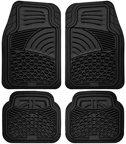 OxGord 4pc Set Tactical Heavy Duty Rubber Floor Mats - Black (Honda Odyssey 2007 Floor Mats compare prices)