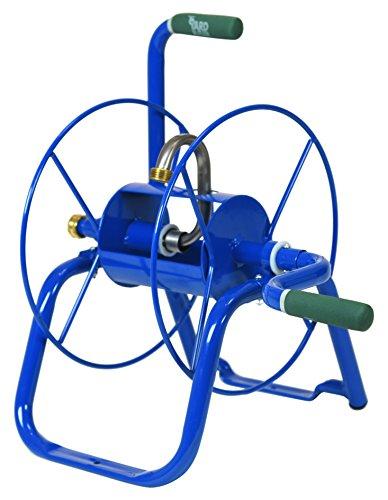 (Yard Butler Handy Reel Easy Winding Heavy Duty Metal Garden 75' Water Hose Reel Low Profile Portable Ground Or Wall Mount– IHR-1BLU Blue)