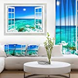 Open Window to Wavy Ocean Extra Large Seashore Canvas Art