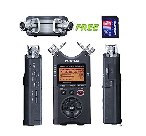 - Tascam DR-40 Handheld 4-Track Recorder w/a Free Patriot 32GB SD Card