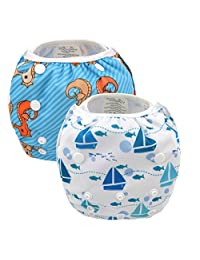 Babygoal Swim diaper, Swimming diaper, Swimming nappy, One Size Reuseable Washable Adjustable Swim Diapers 2pcs 2SWF01-CA