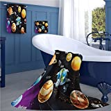 familytaste Outer Space large hand towels set Solar System of Planets Milky Way Neptune Venus Mercury Sphere Illustration gym hand towels set Multicolor