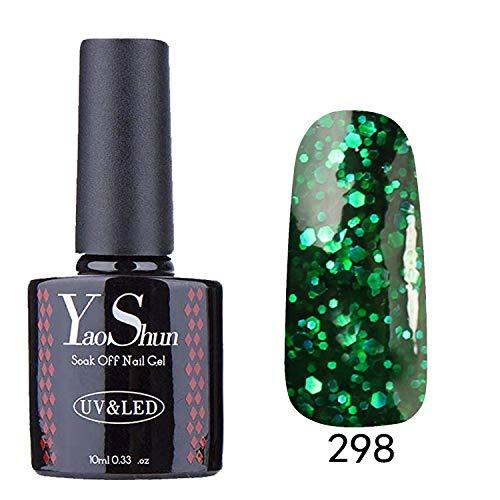 YaoShun UV LED Gel Nail Polish Nail Varnish Soak Off Manicure Glitter Dark Forest Green 10ml #298