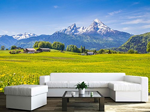 wall26-idyllic-landscape-in-the-alps-with-fresh-green-meadows-and-blooming-flowers-removable-wall-mu