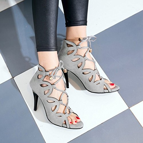 Easemax Womens Sexy Faux Suede Cut Out Self Tie Open High Stiletto Heel Sandals Gray 3swuym