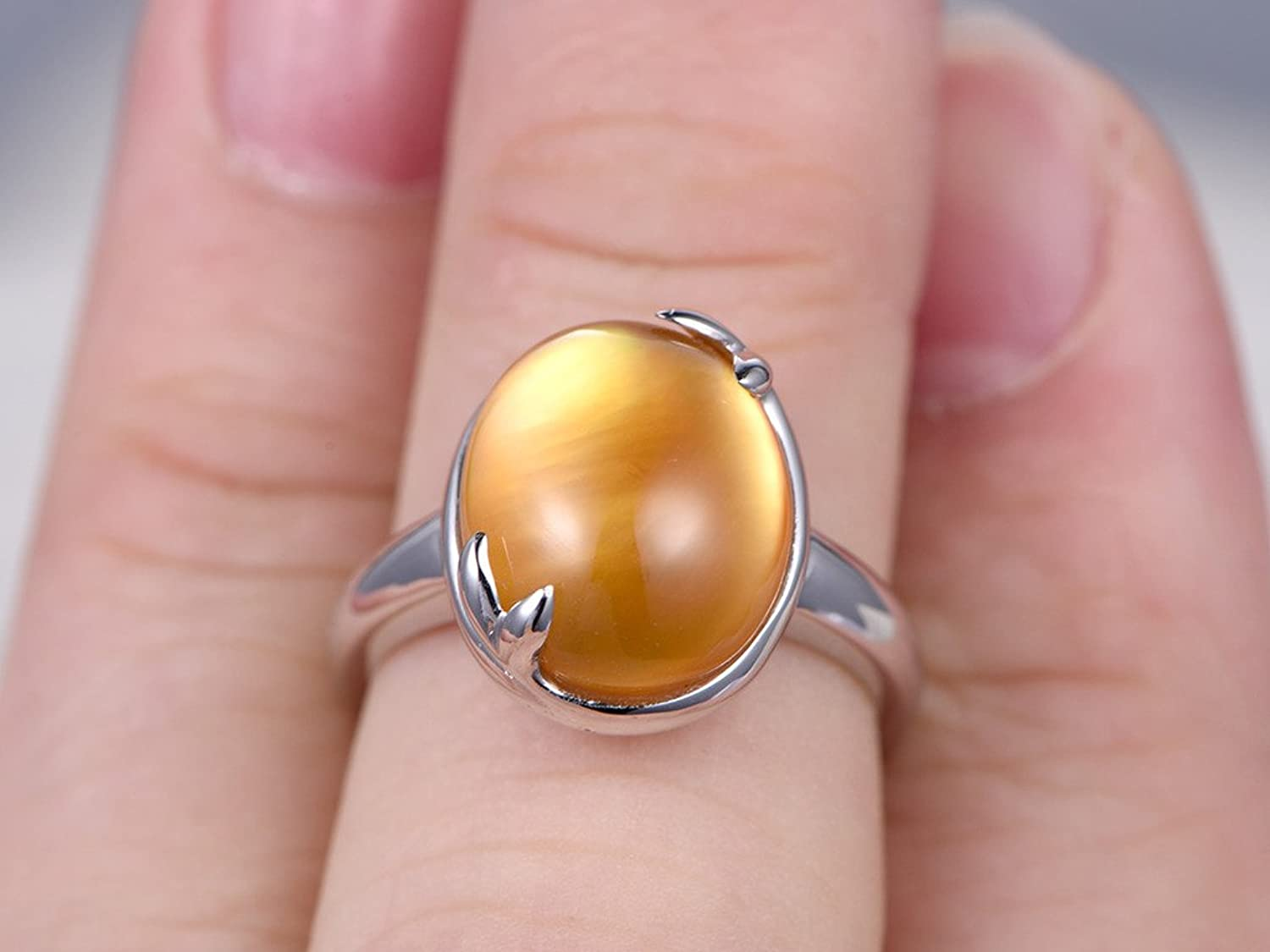 Amazon.com: Natural Citrine Ring Set,6.6ct Big Oval Cut Yellow Gem ...