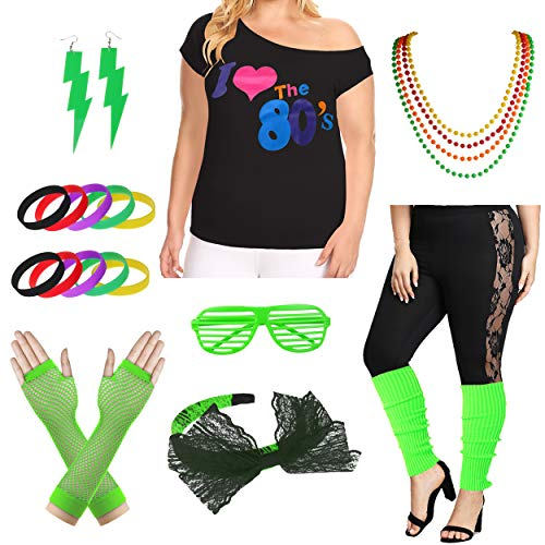Plus Size I Love The 80's T-Shirt 1980s Pop Party Women's Costume Set (3X/4X, Green) -