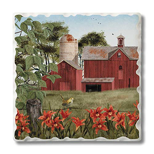 (Highland Home Absorbent Stoneware Coaster Set - Summer Days Farm 4 pack )
