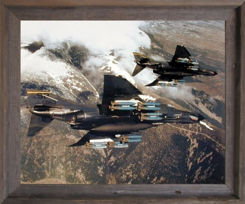 Impact Posters Gallery Framed Wall Decor Picture F-4E Phantom with Missiles Jet Vintage Military Aircraft Aviation Barnwood Art Print (19x23) ()