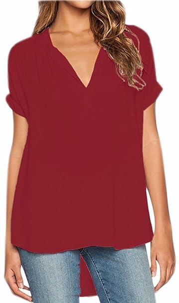 dac4c679 Blusas Mujer Gasa Camisetas Camisas Manga Corta Blusa Camisa Cuello V Shirt  Casual Camiseta Top Señoras T Shirt Color Puro Irregular Sweatshirt Vino  Rojo S: ...