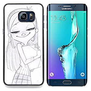 - Girl School Drawing Pencil Art Blonde - - Snap-On Rugged Hard Cover Case Funny HouseFOR Samsung Galaxy S6 Edge Plus