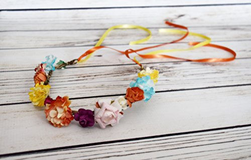Designs by My Daughters - Handcrafted Multi Color Flower Crown - Blush Orange Purple Turquoise Yellow Ivory - Summer Flower Crown - Woodland