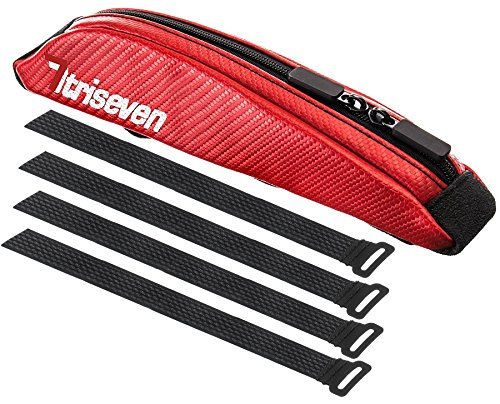 Aero Carbon - TriSeven Carbon Aero Bag 10Cycling Frame BagLong Distance Triathlon BagMTB Bag0,4L CapacityTop Tube BagBike Accessories6 Gels Pump Wallet4 Straps or 2 Bolts100% (RED)