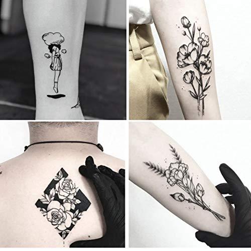 Tatuajes Temporales Niños Purpurina Ballet Negro Blanco Flores ...