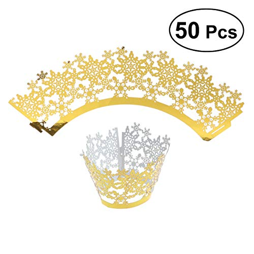 Brilliant Flower Pattern Cupcake Wrappers Decor Wedding Birthday Party Baby Shower Wrap(Reflective Golden) ()