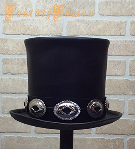 Rocker Black Leather Slash Style Top Hat CROWN 7 1/2 inches High Conchos Hatband Replica Fans VERY HIGH Top Hat by FantasyFuzion