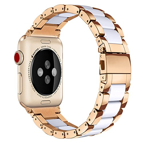 V-MORO Resin Bands Compatible Apple Watch Bands 38mm 40mm iWatch Women Series 4/3/2/1, Luxury Metal Stainless Steel Metal Wristband Bracelet Strap (White/Copper, 38mm)