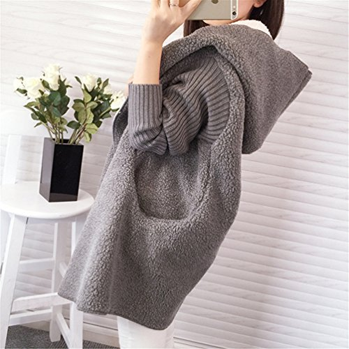 Grey Sleeve Womens Thick Outwear Cardigan Stylish Long Wool Blend Stitching Casual Long Coat Dark Hooded BoyFriend Warm Sweater Winter xqOU4xS
