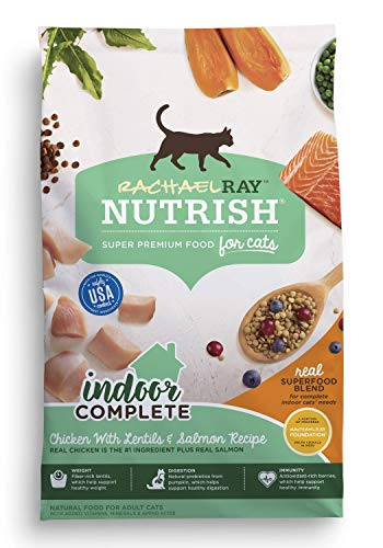 Cheap Rachael Ray Nutrish Indoor Complete Natural Dry Cat Food, Chicken With Lentils & Salmon Recipe, 14 Lbs