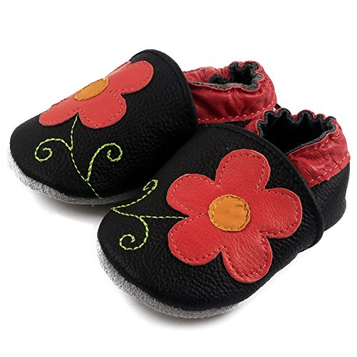 Leather Baby Crib Shoes - Amurleopard Baby Soft Sole Leather Crib Shoes Infant Toddler First Walking Prewalker Red Flower 12-18 Months 5.3