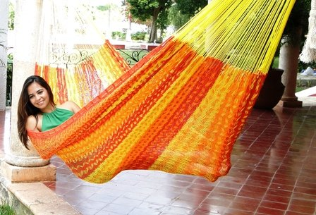 Handmade Mayan Hammock (XL Thick cord strong Mayan hammock, cotton color Tequila (red/orange/yellow))