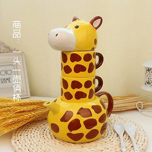 BBujsgH Ceramic Animal Mug Coffee Kit W/Cover Giraffe Cups Couples Cup Gift Teapot Mugs Sub , Giraffe Kit + Spoon To Coasters