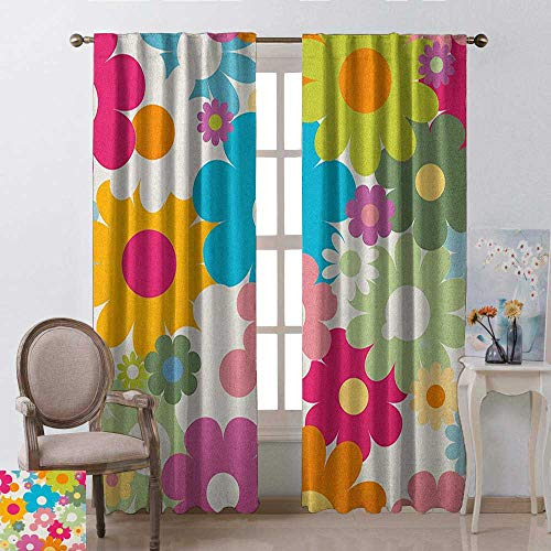 - youpinnong Floral, Kitchen Curtains Valances, Rainbow Colored Vivid Image Sixties Inspired Blooming Nature Symmetrical Pattern, Curtains Kitchen, W108 x L96 Inch, Multicolor