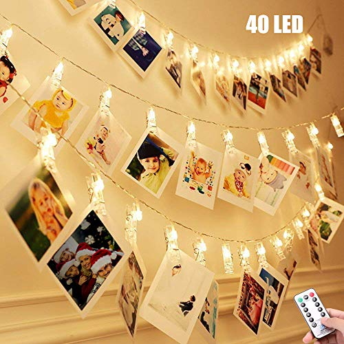 ECOWHO Photo Clips String Lights, 40 LED String Lights with Clips for Bedroom Wedding Party Hanging Photo Pictures Cards Memos, 8 Modes Photo Clip Battery Lights with Remote Timer, Warm -
