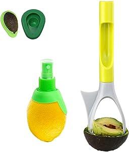 i.VALUX Avocado Tool 5-in-1 Avocado Slicer/Avocado Pitter/Avocado Cutter/Apple Corer/Avocado Masher with Comfort-Grip Handle, Free Gifts 2 Sizes of Avocado Saver + Lemon Squeezer Sprayer