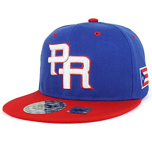 PR 3D Embroidered Flatbill Snapback Cap with Puerto Rico Flag - Royal RED (Royal Red Fitted Hat)