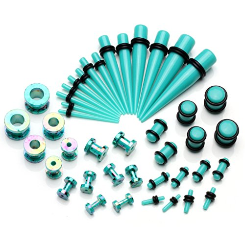 PiercingJ 42 Pieces Acrylic Gauge Kit Tapers Tunnels and Plugs with O Ring 12G-00G Ear Stretching Kit - 21 Pairs (12 Gauge Ear)
