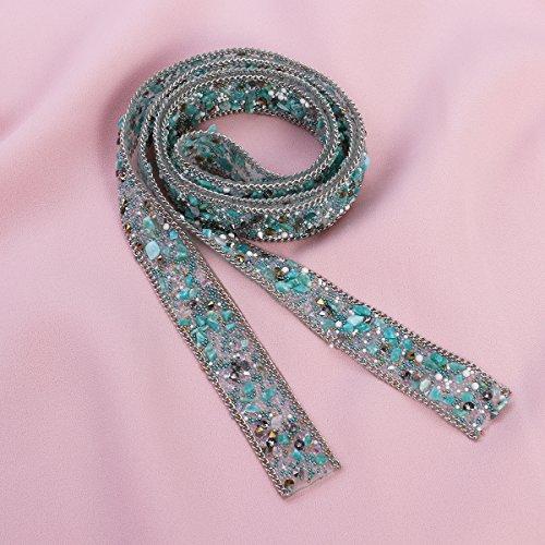 Embellishments 1m Crystal Hats Light DIY Sash ULTNICE Dress Green Belt Rhinestone FCqwA6A