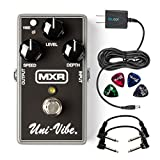 MXR M68 Uni-Vibe Chorus / Vibrato Pedal -INCLUDES- Two Hosa CFS-106 Guitar Patch Cables, Blucoil Power Supply Slim AC/DC Adapter for 9 Volt DC 670mA AND Guitar Picks