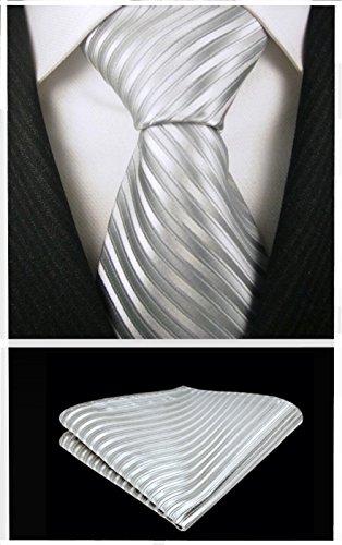 Neckties By Scott Allan - Silver Stripe Mens Tie (Stripe Silver Tie)