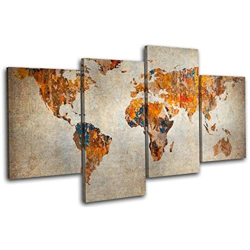 World map flag amazon bold bloc design grunge world atlas maps flags 160x90cm multi canvas art print box framed picture wall hanging hand made in the uk framed and ready to gumiabroncs Choice Image