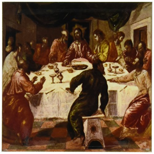 Greco Painting - 3dRose cst_100917_3 Picture of El Grecos Oil Painting of The Last Supper-Ceramic Tile Coasters, Set of 4